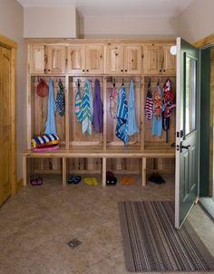 Love this mudroom & the log homes on this site: Custom Hybrid Log Homes & Timber-Frame Homes