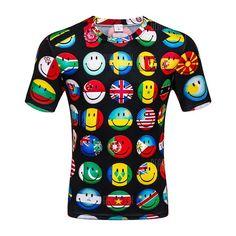 7d4069a7015 Men s Summer Short Sleeve Digital Print 3D Smiley T-Shirt