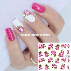 manicure decoration on sale at reasonable prices, buy Red Bloomy Floral Flower Nail Art Water Decals Transfer Stickers Nail Sticker Manicure Decoration from mobile site on Aliexpress Now! Nail Water Decals, Nail Stickers, Best Nail Art Designs, Beautiful Nail Designs, Spring Nails, Summer Nails, Cute Nails, Pretty Nails, Hair And Nails