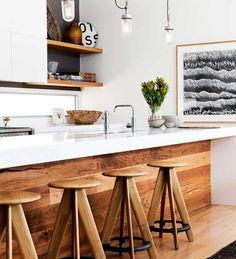 Modern kitchen with wood \ Kitchen Interior Design \ Home Decor New Kitchen, Kitchen Dining, Timber Kitchen, Kitchen White, Kitchen Bars, Earthy Kitchen, Kitchen Ideas, Space Kitchen, Kitchen Modern