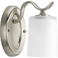 Progress Lighting P2018 Inspire Single-Light Bathroom Sconce with White Etched Glass Shade
