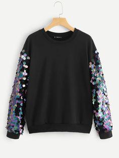 a98669aadee6 Контрастный пуловер с блестками - купить онлайн в интернет-магазине