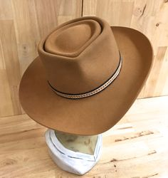 double telescope hat in camel colored beaver blend by hatWRKS