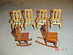 6 Chairs - Rockers and Captain's - Wood - Doll House