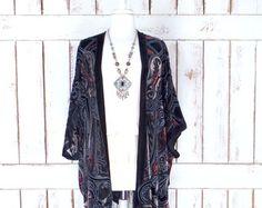 Handmade black/red silk burnout velvet fringe gypsy festival kimono/boho kimono cover up blouse/velvet tassel cardigan top/ON BACK ORDER