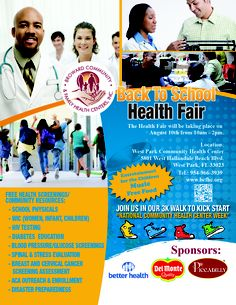 Check out this flier for a Back to School Health Fair from Broward Community & Family Health Centers. What events are you planning on attending during National Health Center Week Health And Safety, Health And Wellness, Union University, Pharmacy School, Health Fair, Hallandale Beach, School Health, National Health, Health Center