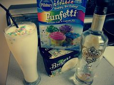 Funfetti cake batter alcoholic milkshake: funfetti cake batter mix, vanilla ice cream, and Smirnoff iced cake