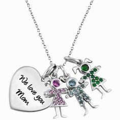 Mother's Heart Pendant with Three Birthstone Children in Sterling Silver (2 Lines, 3 Stones)