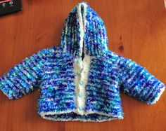 Handknitted Blue and White Striped Newborn size Jacket with Hood. Knitted in White Baby Chenille and Blue Flurry wool. Dog Onesies, Baby Knits, Baby Knitting, Underarm, Hooded Jacket, Blue And White, Wool, Trending Outfits, Handmade Gifts