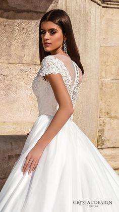 crystal design bridal 2016 lace cap sleeves v neck heavily embellished bodice pretty princess a  line ball gown wedding dress sheer back chapel train (florencia) zsdv