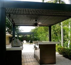 outdoor kitchen - love the ceiling