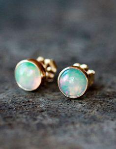 Opal Studs 14k Gold Earrings ♥