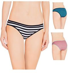 Nabtos Women Sexy Cotton Bikini Stripes Underwear Panties Pack of 3 Large7 Blue Stripes ** To view further, visit the image link.