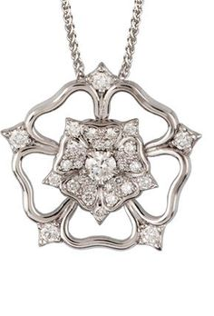 The Little Diamond Shop York-01-129 18ct white gold cut out Yorkshire Rose Pendant. This is now showing at The Little Diamond Shop. York. Part of Ogdens of Harrogate.
