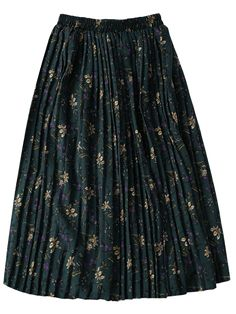 Tiny Floral Pleated Midi Skirt - GREEN ONE SIZE Mobile