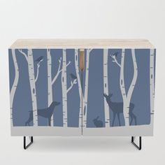 """A true statement maker. Our versatile mid-century modern inspired credenzas are great for use as TV stands, armoires, bar carts, office cabinets or the perfect complement to your bedroom set. The vibrant art printed on the doors will make your piece pop in any setting. Available in a warm, natural birch or a premium walnut finish.    - 35.5"""" x 17.5"""" x 30"""" (H) including legs   - Steel legs available in gold or black   - Interior shelf is adjustabl... Office Cabinets, Bar Carts, Weimaraner, Walnut Finish, Tv Stands, Cleaning Wipes, Birch, Mid-century Modern, Entryway Tables"""