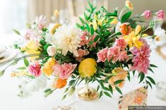 Wedding centerpiece ideas - flowers, bouquet, bright, bold, colorful, lemon, reception, table {Loren De Marco Photography} Wedding Attire, Wedding Themes, Wedding Photos, Centerpiece Ideas, Wedding Centerpieces, Table Decorations, Pittsburgh Hotels, Seven Springs, Beauty Boutique