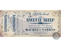 CRUISE INVITATION - Vintage inspired Cruise Ship Ticket Invitation by HydraulicGraphix