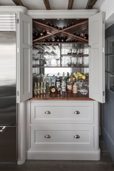 Get your bespoke kitchens, from a shaker style to a contemporary kitchen, for any home from Charlie Kingham Cabinetmakers, Guildford, Surrey. Armoire Bar, Home Bar Cabinet, Drinks Cabinet, Cabinet Ideas, Liquor Cabinet, Refurbished Furniture, Bar Furniture, Repurposed Furniture, Furniture Makeover