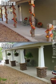 Before & After porch columns. I love how the stone not only updates but with the white covered pillars, gives a relaxed look rather than a shack look. (You don't even really notice the dumpster dive rocking chair in the after pic.)