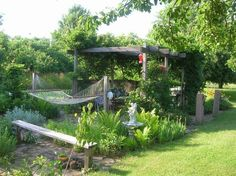 pergola designs for hammock   Love the hammock idea and, as always, love the verdant pergola. by ...