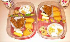 Bento Lunch box idea 9-29-15 GF honey corn dog Honey mustard & onion pretzels String cheese Banana chips and marshmallows Jelly straw Mini m&m cookie