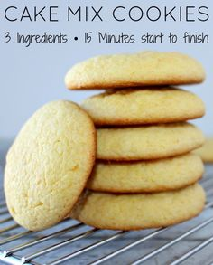 3 Ingredients Cake Mix Cookies - 15 minutes start to finish! Easy cookie recipe for your Easter cookies.