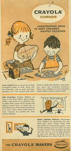 Illustrated Ad, Crayola Crayons, by Binney & Smith A cute 1957 illustrated ad for Crayola Markers.A cute 1957 illustrated ad for Crayola Markers. Vintage Signs, Vintage Ads, Vintage Prints, Vintage Posters, Old Advertisements, Retro Advertising, Retro Ads, Crayola, Retro Poster