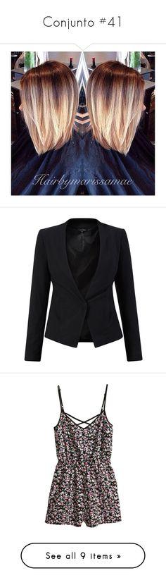 Conjunto #41 by laarochaa on Polyvore featuring hair, women's fashion, outerwear, jackets, blazers, tops, structure jacket, long sleeve blazer, blazer jacket and collarless jackets