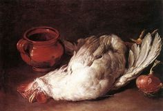 Giacomo Ceruti - Still-Life with Hen, Onion and Pot - (hacia 1750) WGA4678 - Giacomo Ceruti - Wikipedia, the free encyclopedia - - By Giacomo Ceruti - Web Gallery of Art:   Image  Info about artwork, Public Domain, https://commons.wikimedia.org/w/index.php?curid=15385196