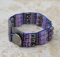 Loomed Beaded Bracelet - Sundance Style Artisan Jewelry - Purple, Lilac, Violet, Indigo Bracelet - Purple Passion by SplendorVendor