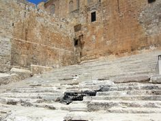 """The Double Gates: An enormous flight of steps leads to the Southern Wall from the south.  These are the steps that Jesus and other Jews walked up to approach the Temple, especially on the great pilgrimage festivals of Passover, Shavuot and Sukko.  The stairs that lead to the double gate are intact and """"well-preserved."""""""