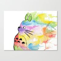 Canvas Prints featuring My Rainbow Totoro by scoobtoobins