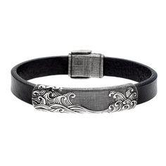 David Yurman Sterling Silver and Black Leather Waves Estate Bracelet