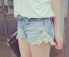 DIY Vintage look shorts. If your shorts are too tight just cut the seem and insert lace. But a pair of shorts or jeans at goodwill thrift store and add lace Diy Lace Shorts, Lace Jean Shorts, Lace Jeans, Ankle Jeans, Denim Skirt, Look Fashion, Diy Fashion, Ideias Fashion, Fashion Shorts