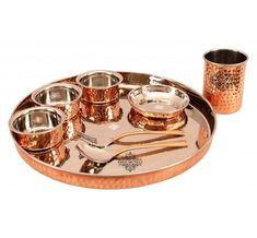 Dinner Set Online, Dinner Sets, Copper Glass, Pure Copper, Indian Art Villa, Copper Utensils, Copper Accents, Dog Bowls, Pure Products