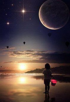 Sun, Moon and Stars Beautiful Moon, Beautiful Places, Child Of The Universe, Star Sky, Stars And Moon, Sun Moon, Night Skies, The Dreamers, Cool Photos