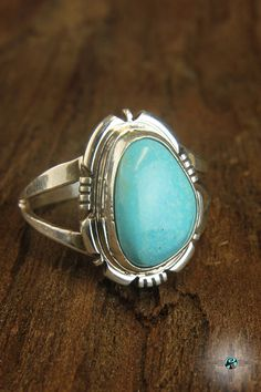 Simple Blue Turquoise Navajo Sterling Silver Ring by Edward Secatero - Turquoise Skies