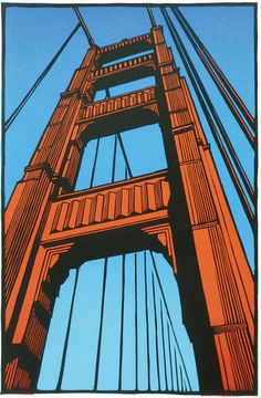 The Bridge at 75 ~ Linocut, 10 x 15.5 inch ~ Rik Olson ~ Printmaker