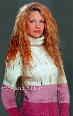 Вязаный женский свитер с листочками