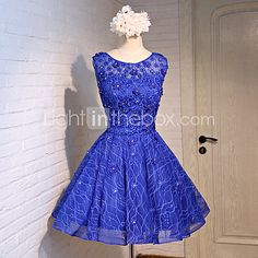 Cocktail Party Dress A-line Jewel Knee-length Lace / Satin / Tulle with Beading / Flower(s) / Lace / Ruffles / Sash / Ribbon / Sequins - USD $79.99