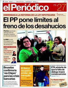 Los Titulares y Portadas de Noticias Destacadas Españolas del 27 de Marzo de 2013 del Diario el Periódico ¿Que le parecio esta Portada de este Diario Español?