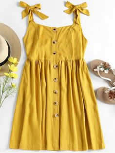 Spring No Solid Sleeveless Round Mini A-Line Casual and Going Casual Tied Straps Button Up Dress Cute Casual Dresses, Trendy Dresses, Trendy Outfits, Cool Outfits, Short Dresses, Summer Dresses, Trendy Clothing, Woman Clothing, Simple Dress Casual