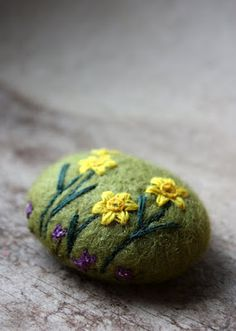 wetfelted stone - hand embroidered [by lil fish studios: past stones]