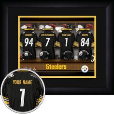 Pittsburgh Steelers Pittsburgh Steelers NFL Personalized Locker Room Print at SportsFansPlus.com