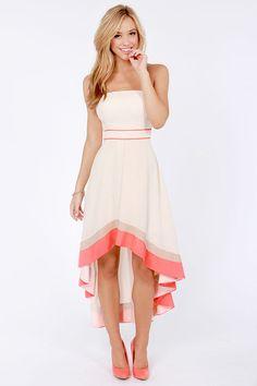Semi Formal Dresses for Teens | High Low Strapless Ruffed Semi ...