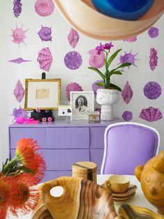 Heywood Wakefield Kohinoor dresser painted lavender - ouch - Doug Meyer Miami Beach pad