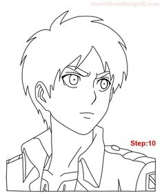 Learn how to draw Eren Yeager from Attack on Titan AKA Shingeki no Kyogin today! ^_^ Eren is the main character of this popular Manga and Anime series and he guards a terrible secret! Anime Drawings Sketches, Oc Drawings, Anime Couples Drawings, Cool Art Drawings, Anime Sketch, Easy Drawings, Anime Character Drawing, Manga Drawing, Mikasa