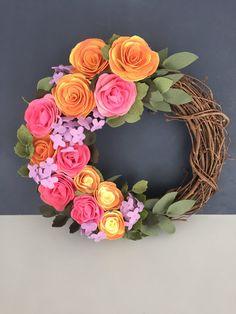 made to order felt succulent & flower 14 grapevine