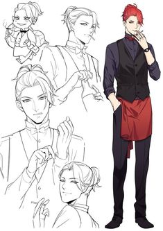 Male character reference hair head hand pose<<<whoa cute anime like waiter Character Design Cartoon, Character Design References, Character Drawing, Character Design Inspiration, Character Concept, Guy Drawing, Manga Drawing, Drawing Tips, Fantasy Male
